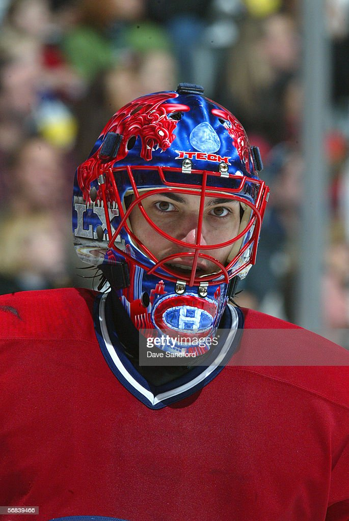 Jose Theodore of the Montreal Canadiens looks on against the Toronto Maple Leafs at the Air Canada Centre January 28 2006 in Toronto Ontario Canada...