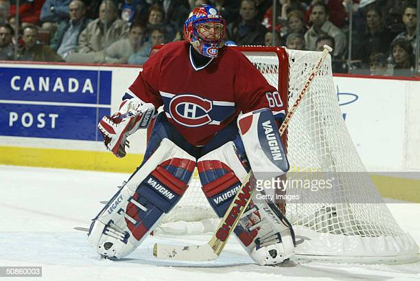 Jose Theodore of the Montreal Canadiens looks on from his net during game three of the 2004 NHL Eastern Conference Quarterfinals against the Boston...