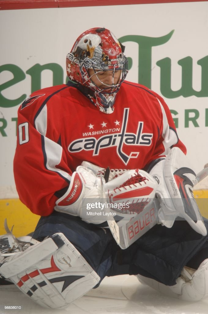 Jose Theodore of the Washington Capitals looks on against the Montreal Canadiens during Game Seven of the Eastern Conference Quarterfinals of the...