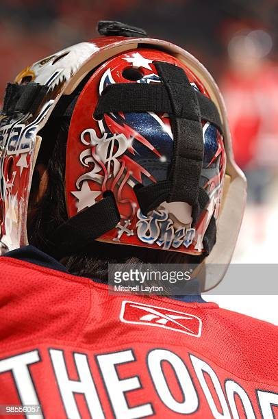 Jose Theodore of the Washington Capitals looks on during warm ups of a NHL hockey game against the Bostob Bruins on April 11 2010 at the Verizon...