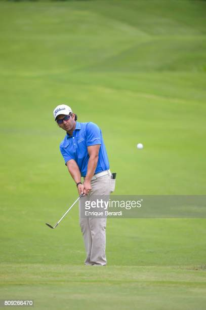 Jose Toledo of Guatemala chips up to the 17th green during the final round of the PGA TOUR Latinoamerica BMW Jamaica Classic at Cinnamon Hill Golf...