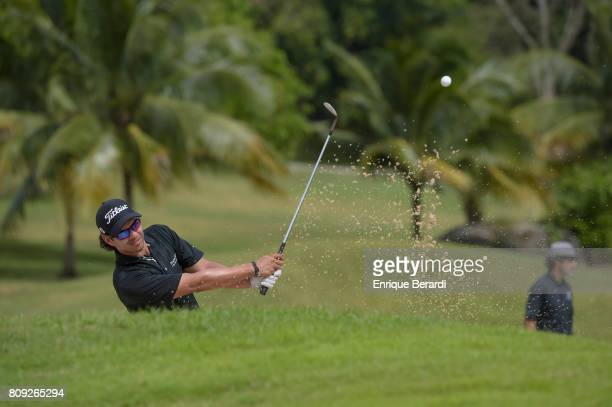 Jose Toledo of Guatemala hits out of a bunker during practice for the PGA TOUR Latinoamerica BMW Jamaica Classic at Cinnamon Hill Golf Course on June...