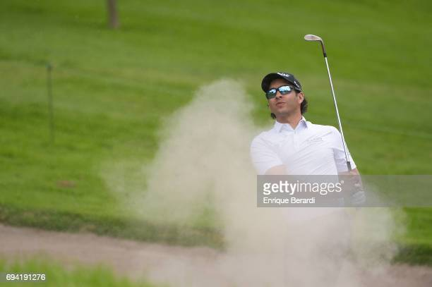 Jose Toledo of Guatemala hits out of a bunker on the 10th hole during the third round of the PGA TOUR Latinoamerica Quito Open presentado por Diners...