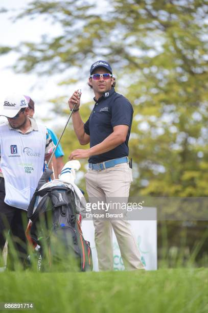 Jose Toledo of Guatemala prepares to tee off on the eighth hole during the weather shortened third and final round of the PGA TOUR Latinoamerica...