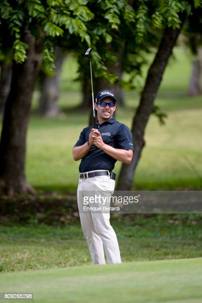Jose Toledo of Guatemala reacts to missing a par putt on the first hole during practice for the PGA TOUR Latinoamerica BMW Jamaica Classic at...