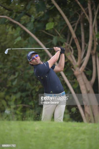 Jose Toledo of Guatemala tees off on the eighth hole during the weather shortened third and final round of the PGA TOUR Latinoamerica Essential Costa...
