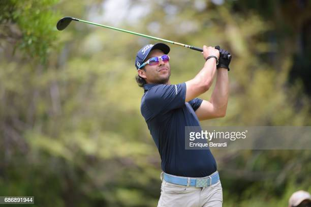 Jose Toledo of Guatemala tees off on the ninth hole during the weather shortened third and final round of the PGA TOUR Latinoamerica Essential Costa...