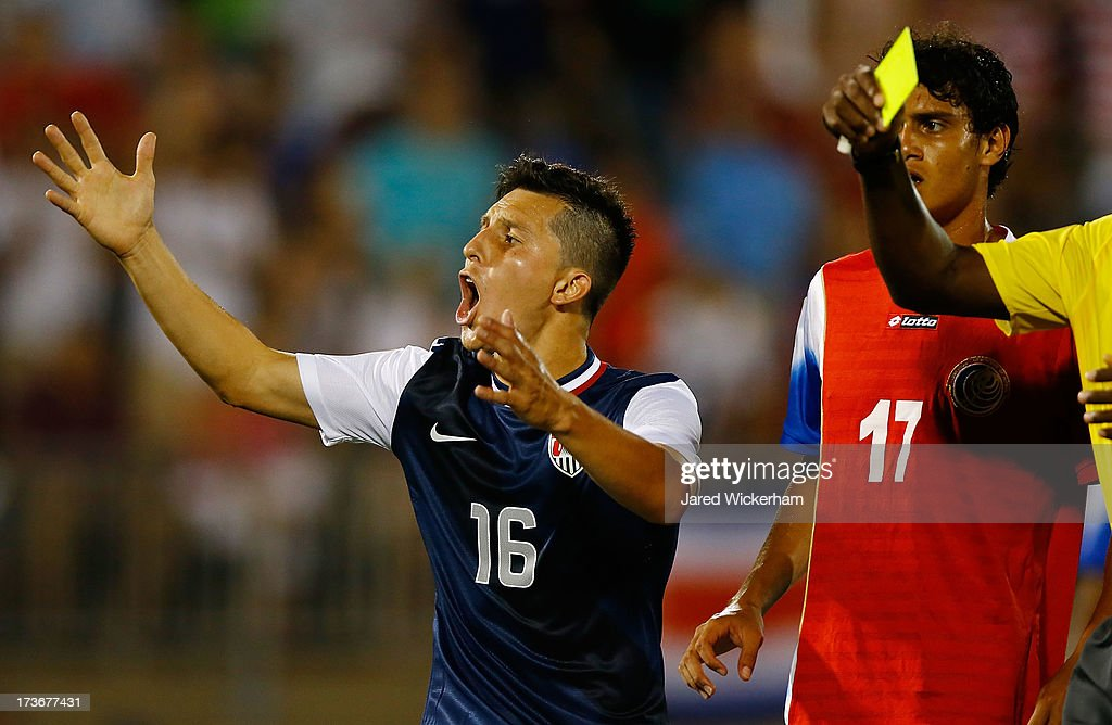 Jose Torres #16 of the United States reacts after being handed a yellow card in the second half against Costa Rica during the CONCACAF Gold Cup match at Rentschler Field on July 16, 2013 in East Hartford, Connecticut.