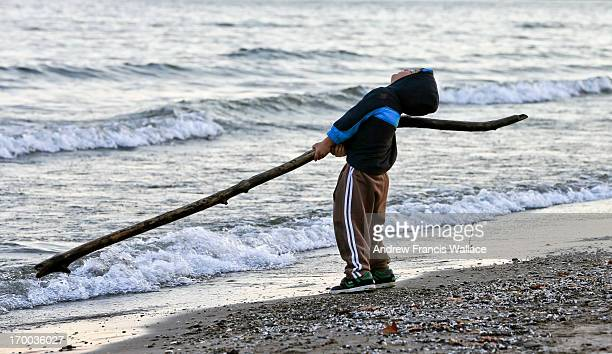 Jose Trilho plays with a tree branch at Marie Curtis Park Beach in Toronto