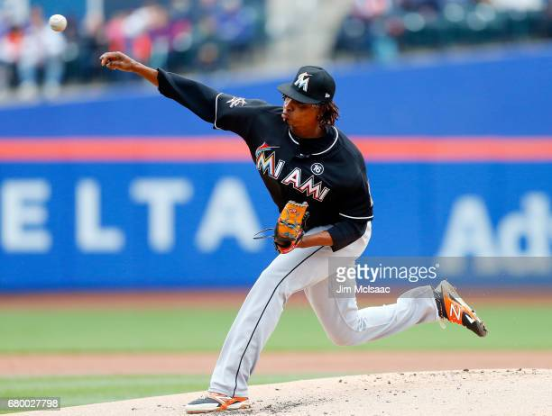 Jose Urena of the Miami Marlins pitches in the first inning against the New York Mets at Citi Field on May 7 2017 in the Flushing neighborhood of the...