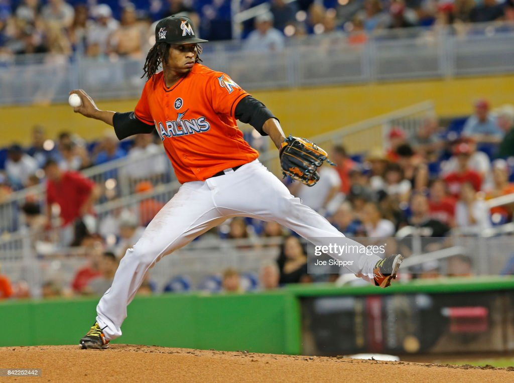 Jose Urena #62 of the Miami Marlins throws against the Philadelphia Phillies in the first inning at Marlins Park on September 3, 2017 in Miami, Florida.