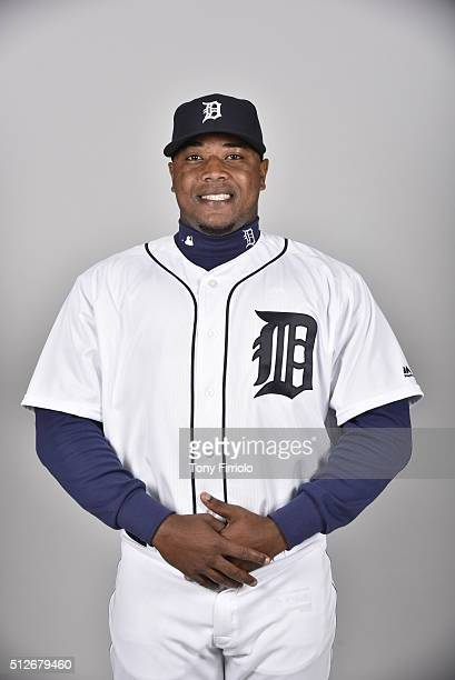 Jose Valdez of the Detroit Tigers poses during Photo Day on Saturday February 27 2016 at Joker Marchant Stadium in Lakeland Florida