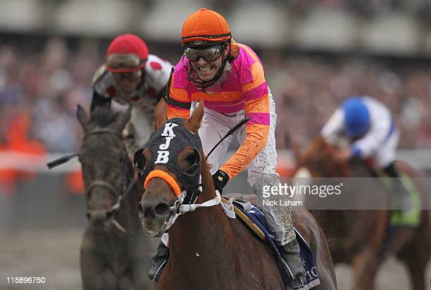 Jose Valdivia Jr rides Ruler On Ice to victory during the running of the 143rd Belmont Stakes at Belmont Park on June 11 2011 in Elmont New York
