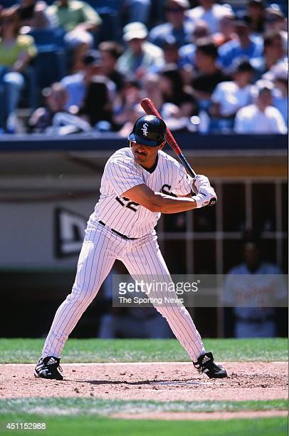 Jose Valentin of the Chicago White Sox bats against the Detroit Tigers at Comiskey Park in Chicago Illinois on May 26 2002 The Tigers defeated the...