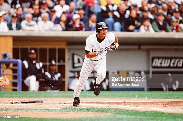 Jose Valentin of the Chicago White Sox bats during Game Two of the American League Divisional Series against the Seattle Mariners on October 4 2000...