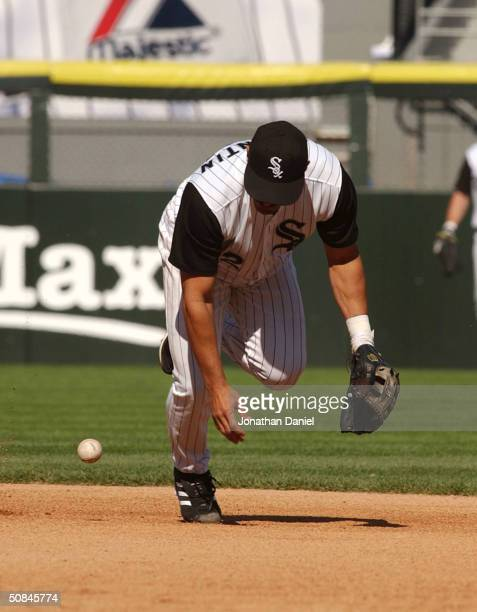 Jose Valentin of the Chicago White Sox drops the ball trying to make a play late in a game against the Minnesota Twins on May 16 2004 at US Cellular...