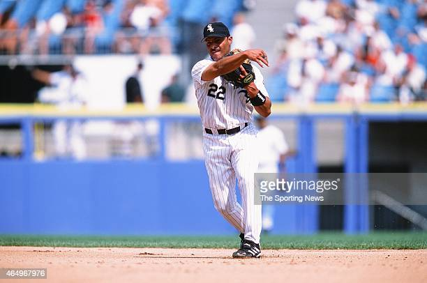 Jose Valentin of the Chicago White Sox fields against the Seattle Mariners at Comiskey Park on August 11 2002 in Chicago Illinois