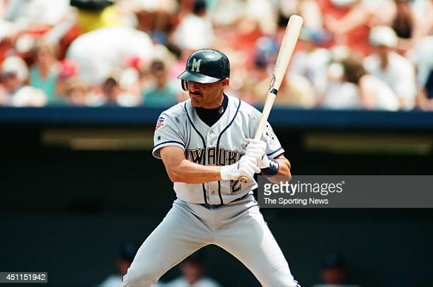 Jose Valentin of the Milwaukee Brewers bats against the Kansas City Royals at Kauffman Stadium on June 29 1997 in Kansas City Missouri