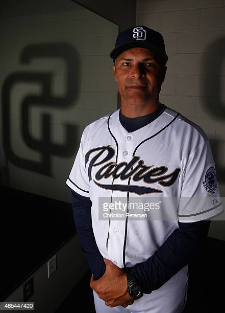 Jose Valentin of the San Diego Padres poses for a portrait during spring training photo day at Peoria Stadium on March 2 2015 in Peoria Arizona
