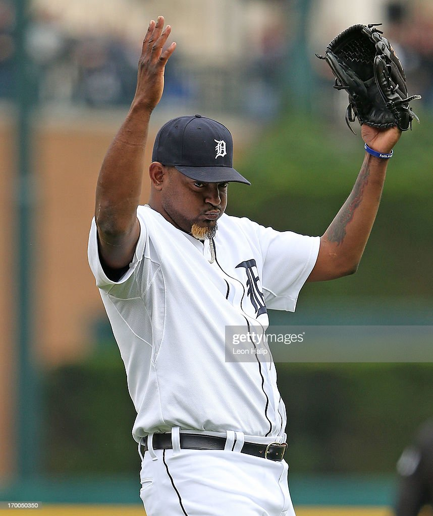 <a gi-track='captionPersonalityLinkClicked' href=/galleries/search?phrase=Jose+Valverde&family=editorial&specificpeople=689773 ng-click='$event.stopPropagation()'>Jose Valverde</a> #46 of the Detroit Tigers celebrates a win over the Tampa Bay Rays at Comerica Park on June 6, 2013 in Detroit, Michigan. The Tigers defeated the Rays 5-2.