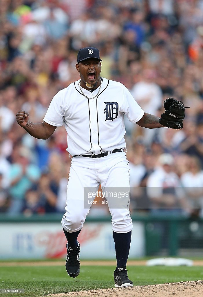 <a gi-track='captionPersonalityLinkClicked' href=/galleries/search?phrase=Jose+Valverde&family=editorial&specificpeople=689773 ng-click='$event.stopPropagation()'>Jose Valverde</a> #46 of the Detroit Tigers celebrates a win over the Cleveland Indians during the game at Comerica Park on June 8, 2013 in Detroit, Michigan. The Tigers defeated the Indians 6-4.