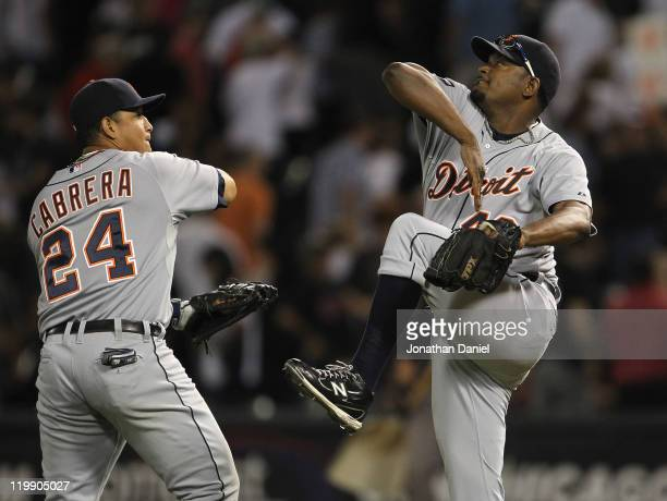 Jose Valverde of the Detroit Tigers celebrates a win with Miguel Cabrera against the Chicago White Sox at US Cellular Field on July 26 2011 in...