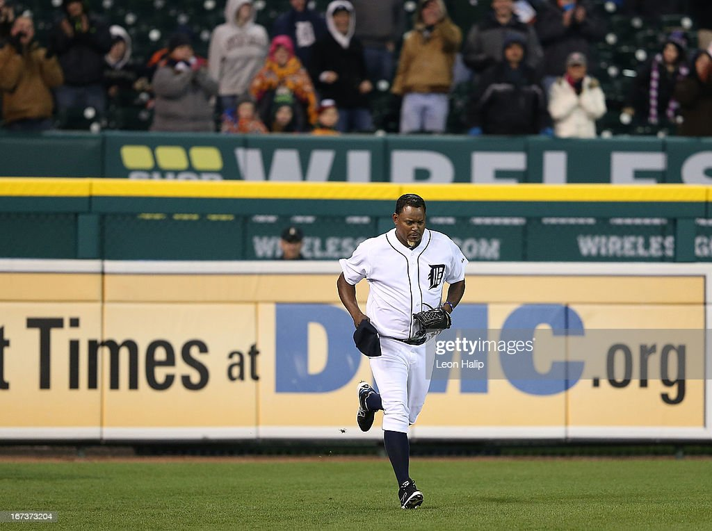 <a gi-track='captionPersonalityLinkClicked' href=/galleries/search?phrase=Jose+Valverde&family=editorial&specificpeople=689773 ng-click='$event.stopPropagation()'>Jose Valverde</a> #46 of the Detroit Tigers enters the field from the outfield bullpen in the ninth inning for his first appearence this season during the game against the Kansas City Royals at Comerica Park on April 24, 2013 in Detroit, Michigan. The Tigers defeated the Royal 7-5.