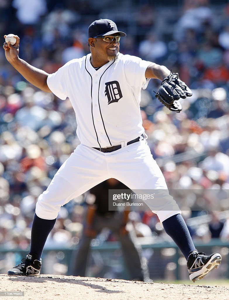 <a gi-track='captionPersonalityLinkClicked' href=/galleries/search?phrase=Jose+Valverde&family=editorial&specificpeople=689773 ng-click='$event.stopPropagation()'>Jose Valverde</a> #46 of the Detroit Tigers pitches against the Baltimore Orioles in the ninth inning at Comerica Park on June 19, 2013 in Detroit, Michigan. Valverde gave up four runs and five hits in a 13-3 loss to the Orioles.