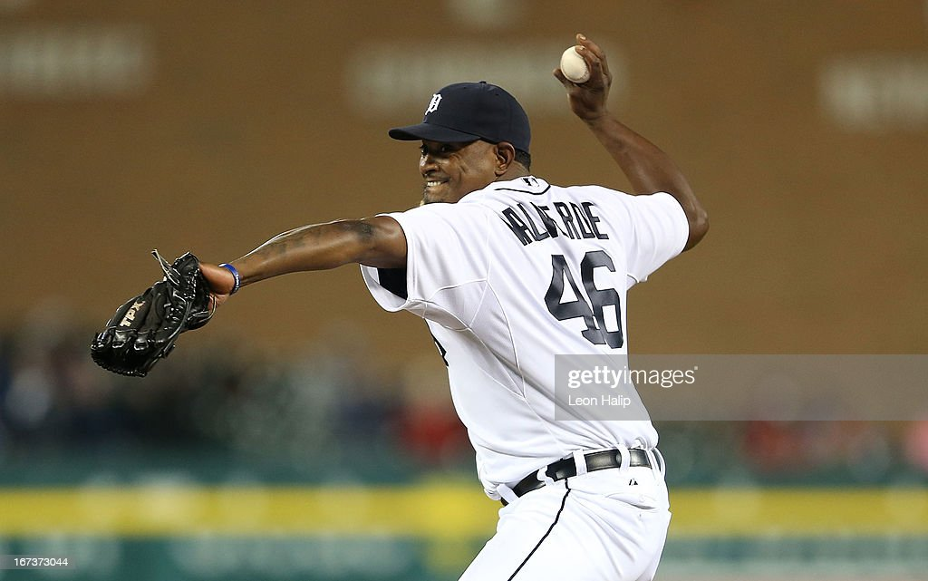 <a gi-track='captionPersonalityLinkClicked' href=/galleries/search?phrase=Jose+Valverde&family=editorial&specificpeople=689773 ng-click='$event.stopPropagation()'>Jose Valverde</a> #46 of the Detroit Tigers pitches in the ninth inning for the first time this year during the game against the Kansas City Royals at Comerica Park on April 24, 2013 in Detroit, Michigan. The Tigers defeated the Royal 7-5.
