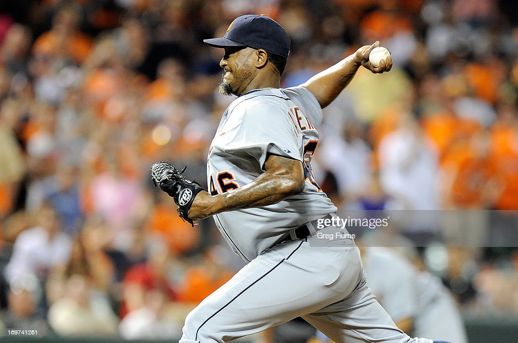 <a gi-track='captionPersonalityLinkClicked' href=/galleries/search?phrase=Jose+Valverde&family=editorial&specificpeople=689773 ng-click='$event.stopPropagation()'>Jose Valverde</a> #46 of the Detroit Tigers pitches in the ninth inning against the Baltimore Orioles at Oriole Park at Camden Yards on May 31, 2013 in Baltimore, Maryland. Baltimore won the game 7-5.
