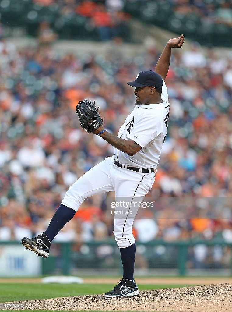 <a gi-track='captionPersonalityLinkClicked' href=/galleries/search?phrase=Jose+Valverde&family=editorial&specificpeople=689773 ng-click='$event.stopPropagation()'>Jose Valverde</a> #46 of the Detroit Tigers pitches in the ninth inning during the game against the Cleveland Indians at Comerica Park on June 8, 2013 in Detroit, Michigan. The Tigers defeated the Indians 6-4.