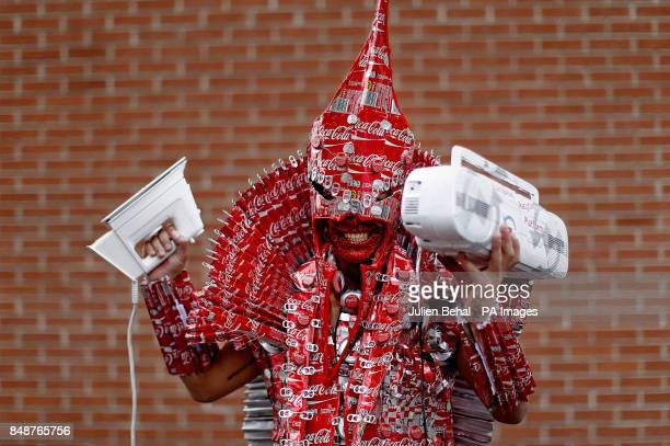 Jose Varandas a student from Holy Trinity College in Cookstown CoTyrone in Northern Ireland dressed as a Warrior Knight in a custume made from Coke...