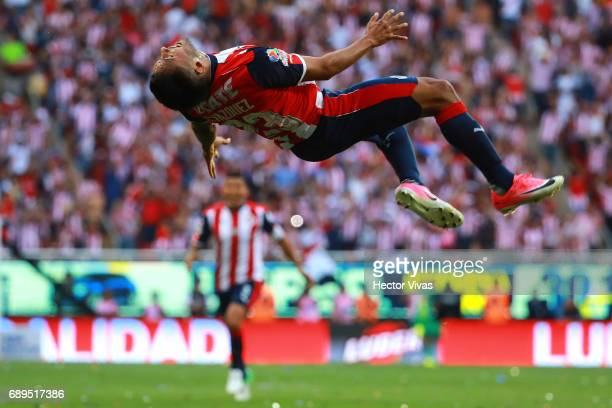 Jose Vazquez of Chivas celebrates after scoring the second goal of his team during the Final second leg match between Chivas and Tigres UANL as part...
