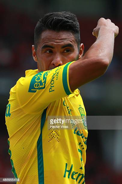 Jose Vazquez of Leon reacts during a 7th round match between Toluca and Leon as part of the Apertura 2015 Liga MX at Nemesio Diez Stadium on August...