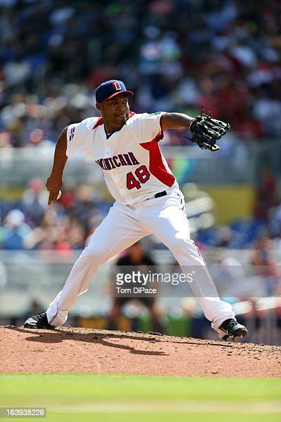 Jose Veras of Team Dominican Republic pitches during Pool 2 Game 6 against Team Puerto Rico in the second round of the 2013 World Baseball Classic on...