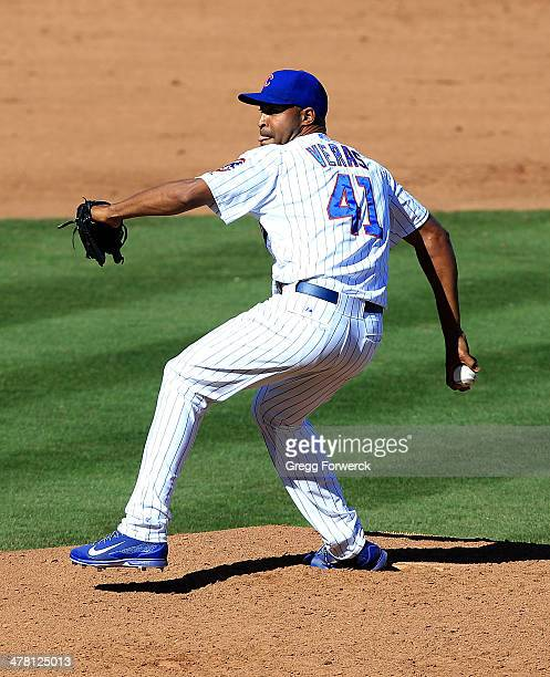 Jose Veras of the Chicago Cubs pitches against the Arizona Diamondbacks during a spring training game at Cubs Park on February 27 2014 in Mesa Arizona