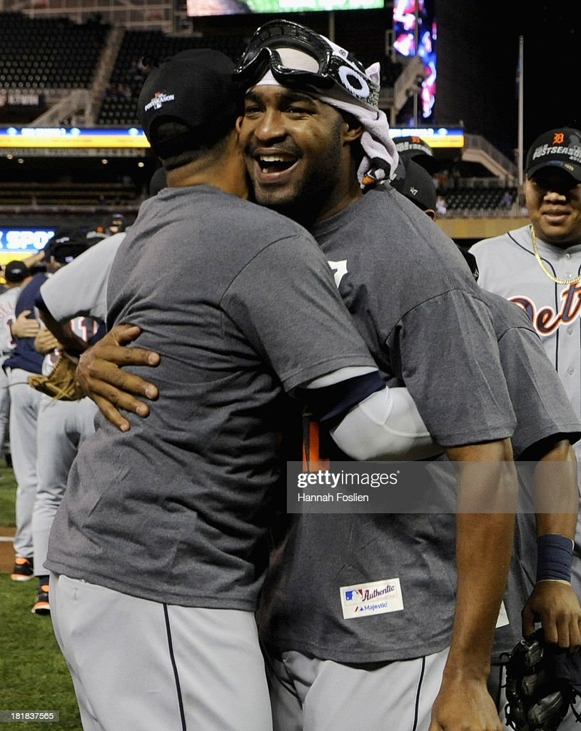 <a gi-track='captionPersonalityLinkClicked' href=/galleries/search?phrase=Jose+Veras&family=editorial&specificpeople=846188 ng-click='$event.stopPropagation()'>Jose Veras</a> #31 of the Detroit Tigers hugs teammate Victor Martinez #41 after a 1-0 win of the game against the Minnesota Twins on September 25, 2013 at Target Field in Minneapolis, Minnesota. The Tigers clinched the American League Central Division title.