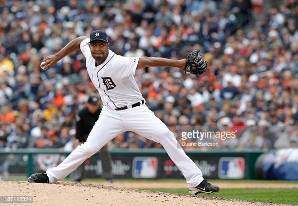 Jose Veras of the Detroit Tigers pitches against the Oakland Athletics in the ninth inning during Game Three of the American League Division Series...