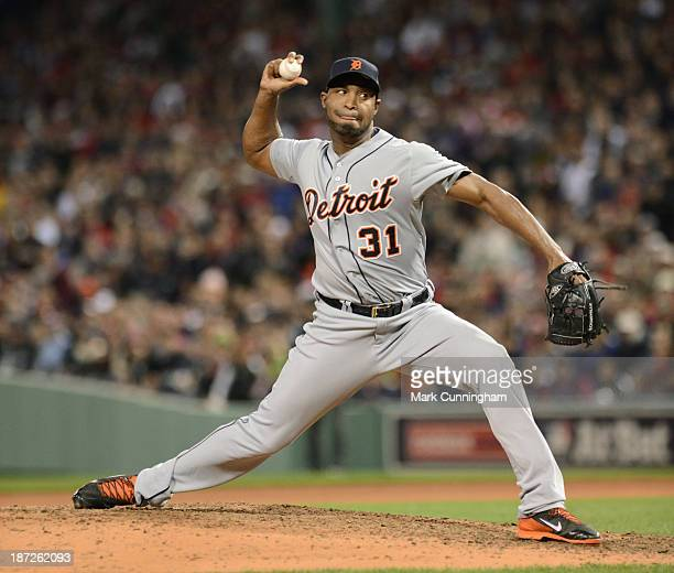 Jose Veras of the Detroit Tigers pitches during Game One of the American League Championship Series against the Boston Red Sox at Fenway Park on...