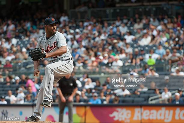 Jose Veras of the Detroit Tigers pitches during the game against the New York Yankees on Sunday August 11 2013 at Yankee Stadium in the Bronx borough...