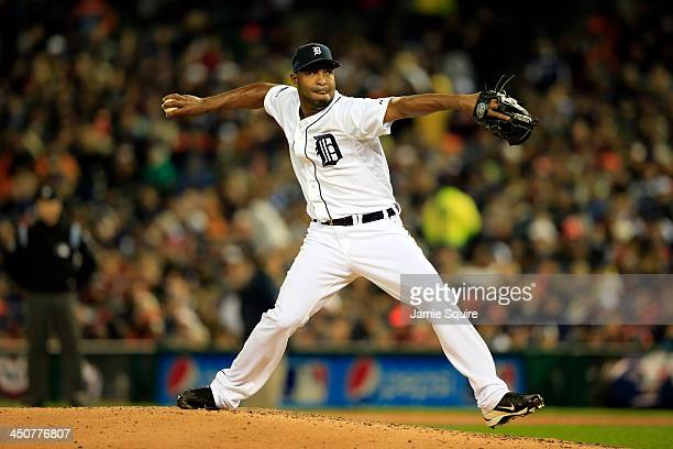 Jose Veras of the Detroit Tigers pitches in the seventh inning against the Boston Red Sox during Game Five of the American League Championship Series...