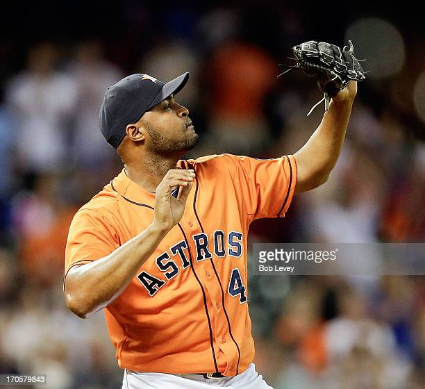 Jose Veras of the Houston Astros celebrates after the final out as the Houston Astros defeat the Chicago White Sox 21 at Minute Maid Park on June 14...