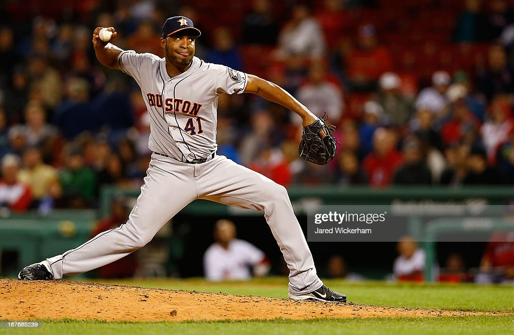 <a gi-track='captionPersonalityLinkClicked' href=/galleries/search?phrase=Jose+Veras&family=editorial&specificpeople=846188 ng-click='$event.stopPropagation()'>Jose Veras</a> #41 of the Houston Astros pitches against the Boston Red Sox during the game on April 27, 2013 at Fenway Park in Boston, Massachusetts.
