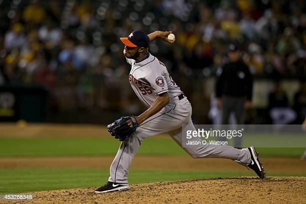 Jose Veras of the Houston Astros pitches against the Oakland Athletics during the eleventh inning at Oco Coliseum on July 22 2014 in Oakland...