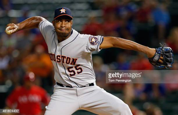 Jose Veras of the Houston Astros pitches against the Texas Rangers in the bottom of the ninth inning at Globe Life Park in Arlington on July 7 2014...