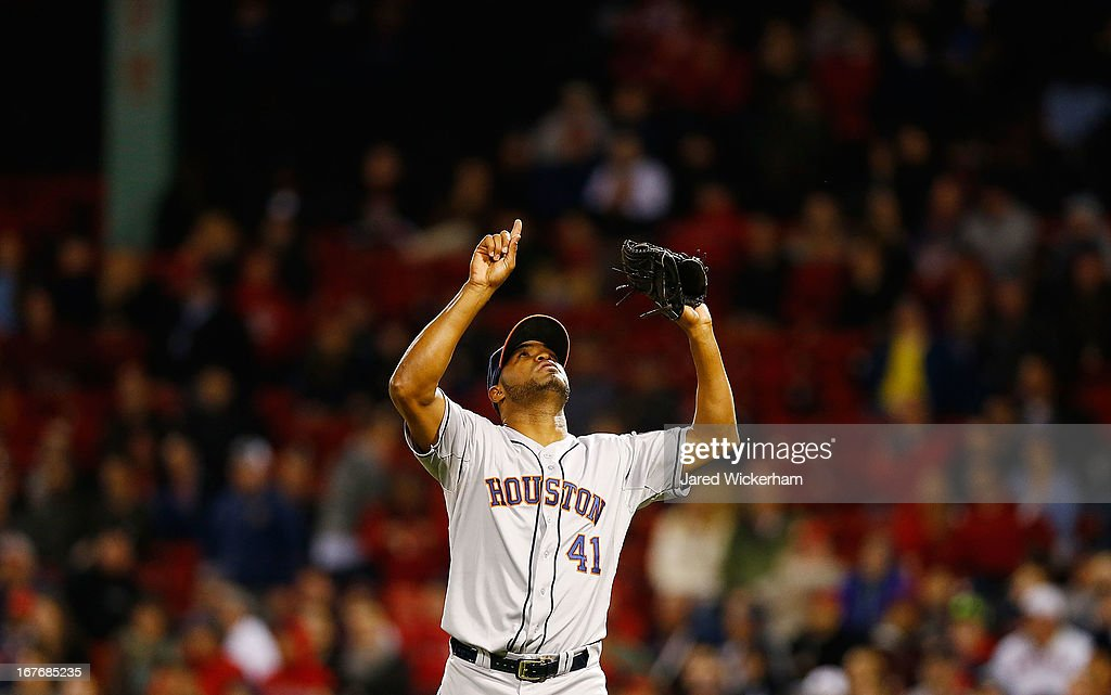 <a gi-track='captionPersonalityLinkClicked' href=/galleries/search?phrase=Jose+Veras&family=editorial&specificpeople=846188 ng-click='$event.stopPropagation()'>Jose Veras</a> #41 of the Houston Astros pitches celebrates after closing out the inning against the Boston Red Sox during the game on April 27, 2013 at Fenway Park in Boston, Massachusetts.