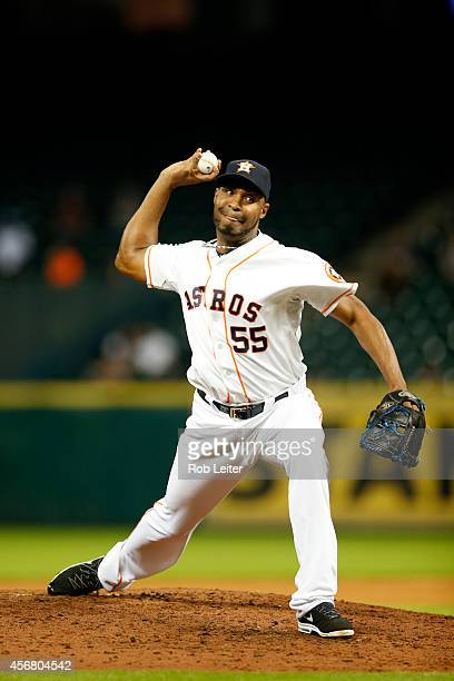Jose Veras of the Houston Astros pitches during the game against the Oakland Athletics at Minute Maid Park on August 27 2014 in Houston Texas The...
