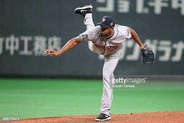 Jose Veras of the Houston Astros pitches in the eighth inning during the game five of Samurai Japan and MLB All Stars at Sapporo Dome on November 18...