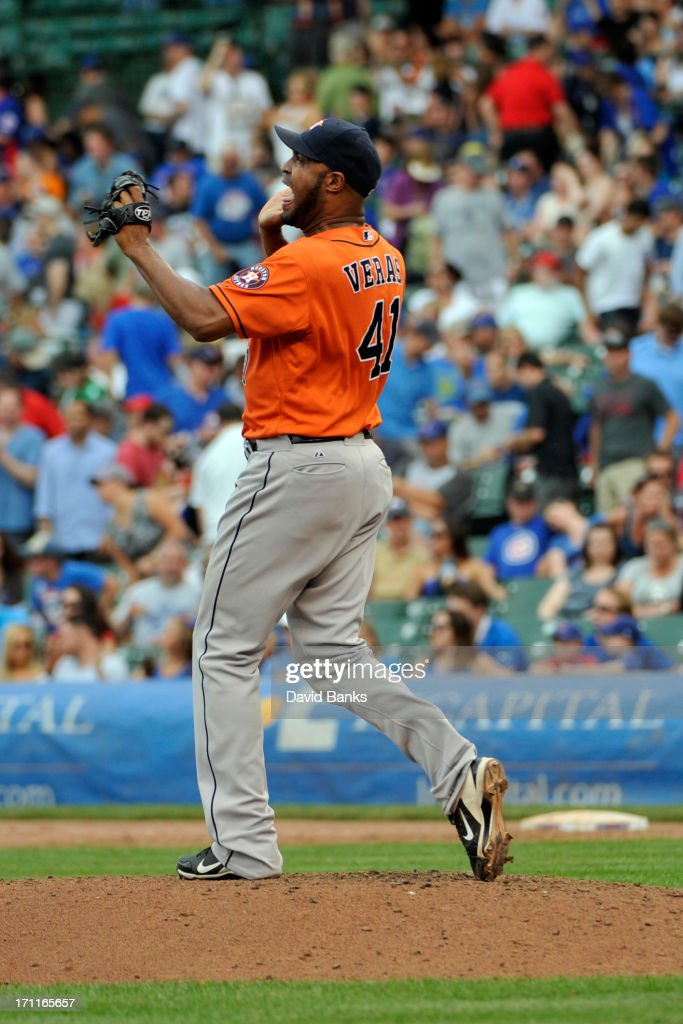 <a gi-track='captionPersonalityLinkClicked' href=/galleries/search?phrase=Jose+Veras&family=editorial&specificpeople=846188 ng-click='$event.stopPropagation()'>Jose Veras</a> #41 of the Houston Astros reacts after the Astros win against the Chicago Cubs on June 22, 2013 at Wrigley Field in Chicago, Illinois. The Houston Astros defeated the Chicago Cubs 4-3.