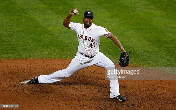 Jose Veras of the Houston Astros throws a pitch in the ninth inning against the Los Angeles Angels of Anaheim at Minute Maid Park on May 8 2013 in...